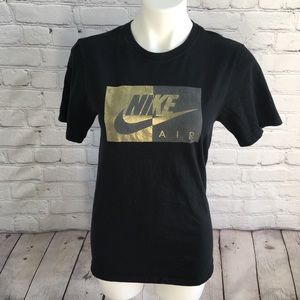 Nike Air Women's Black and Gold TShirt Size Small